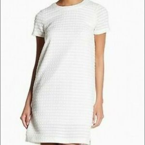 London Times White Textured Shift Dress Size 4P